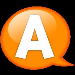 speech balloon orange a icon