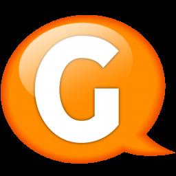 speech balloon orange g icon