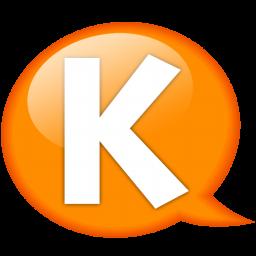 speech balloon orange k icon