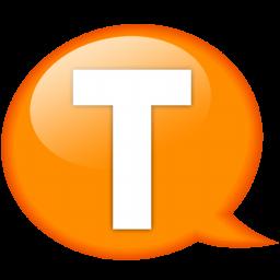 speech balloon orange t icon