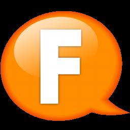 speech balloon orange f icon