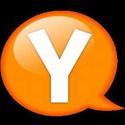 speech balloon orange y icon