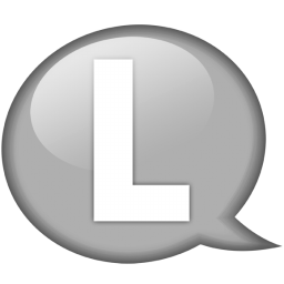 speech balloon white l icon